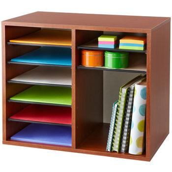 "Safco Wood Adjustable Literature Organizer, 12 Compartment, Cherry, 19-1/2""W x 12""D x 16""H"