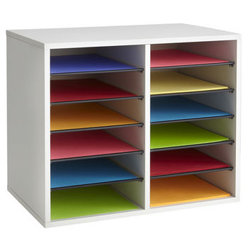 "Safco Wood Adjustable Literature Organizer, 12 Compartment, Gray, 19-1/2""W x 12""D x 16""H"