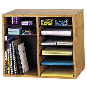 "Safco Wood Adjustable Literature Organizer, 12 Compartment, Medium Oak, 19-1/2""W x 12""D x 16""H"