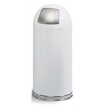 Safco® 15-Gallon Dome Top Trash Can w/ Push Door & Steel Liner