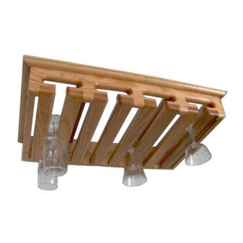 Sawbuck Solid Oak Intimate Ceiling/Wall/Under Cabinet Mount Hanging Stemware  Rack, 12+ Glass Capacity, 22