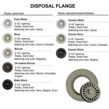 """Houzer Color Disposal Flange 3-1/2"""" Opening, Speckled Granite Black Finish"""