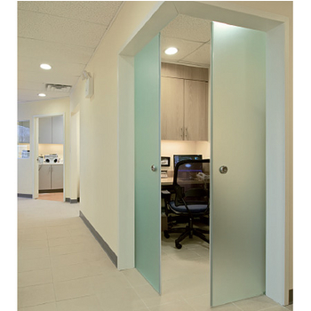 "Structure Glass Solutions Covert Series Heavy Duty Sliding Door Accessories for Bi-Parting Single Glass Door with 3/8"" - 1/2"" Thick Glass"