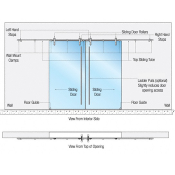 Structure Glass Solutions Flux Series Double Sliding Door Wall/Surface Mount, Brushed Stainless