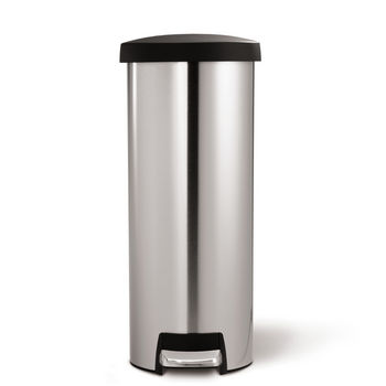 simplehuman slim step trash can fingerprint proof brushed stainless steel with plastic lid 45. Black Bedroom Furniture Sets. Home Design Ideas