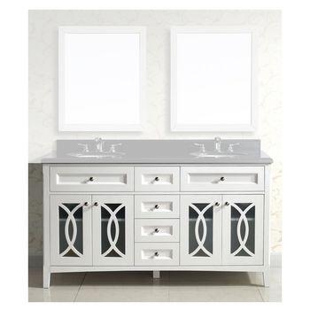 Dawn Sinks 60u0027u0027 W Bohemian Solid Wood Framed Bathroom Vanity Base Cabinet  With Plywood Interior, Mdf Glass Doors And..