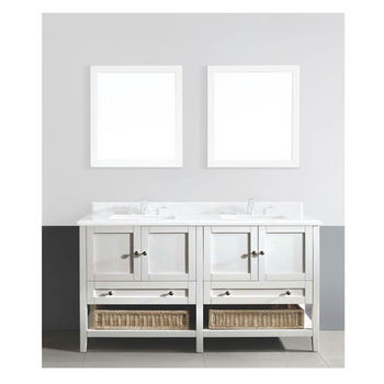 Dawn Sinks 60 W Bohemian Solid Wood Framed Bathroom Vanity Base Cabinet With Plywood Interior Mdf Doors And Drawers