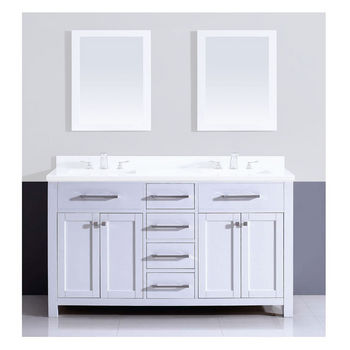 Dawn Sinks 59u0027u0027 W Milan Solid Wood Framed Bathroom Vanity Base Cabinet With  Plywood Interior, Mdf Doors And Drawers,.