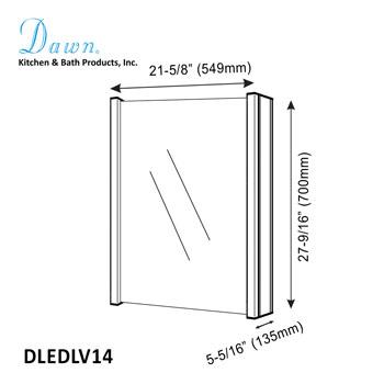 "Dawn Sinks LED Backlit Vertical Single Door Medicine Cabinet with Matte Aluminum Mirror, 21-5/8"" W x 5-5/16"" D x 27-9/16""H"