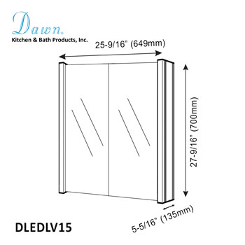 """Dawn Sinks LED Backlit Two Door Medicine Cabinet with Horizontal Matte Aluminum Mirror, 25-9/16"""" W x 5-5/16"""" D x 27-9/16""""H"""