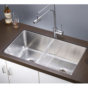 Kitchen sinks stainless steel kitchen sinks and accessories by dawn sinks 32w x 18 12d x 10 38h undermount single to double combination bowl sink with removable acrylic glass workwithnaturefo