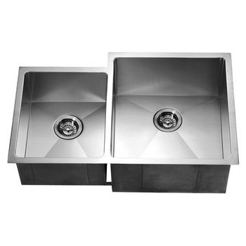 "Dawn Sinks 33""W Undermount Double Bowl Square Kitchen Sink"