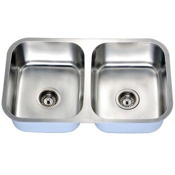 Economy Series 18-Gauge Stainless Steel Dual Equal Bowl Undermount Sink