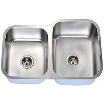 Economy Series 18-Gauge Stainless Steel Double Bowl Undermount Sink Small Bowl on Left