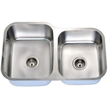 Economy Series 18-Gauge Stainless Steel Double Bowl Undermount Sink Small Bowl on Right