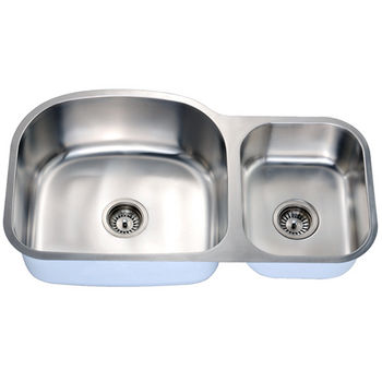 Economy Series 18-Gauge Stainless Steel Double Oval Bowl Undermount Sink Small Bowl on Right