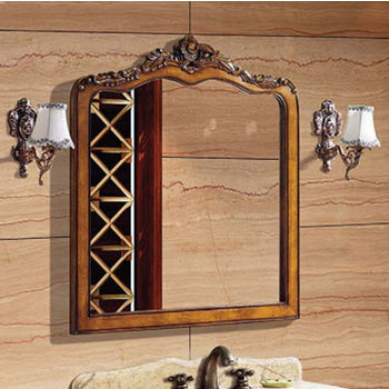 Dawn Traditional Solidwood And Plywood Frame Mirror In Yellowish Brown  Finish