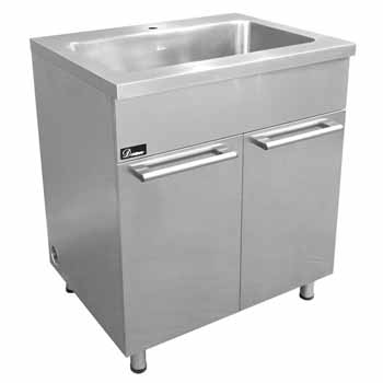 Kitchen sinks stainless steel kitchen sinks and accessories by dawn sinks 30 stainless steel sink base cabinet with built in garbage can in satin nickel finish workwithnaturefo