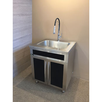 Freestanding 20 Gauge Stainless Steel Bathroom Vanity Base Cabinet With Integrated Sink And Garbage Can By Dawn Sinks Kitchensource Com