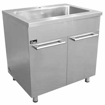 Dawn Sinks 36 Stainless Steel Sink Base Cabinet With Built In Garbage Can Satin Nickel Finish
