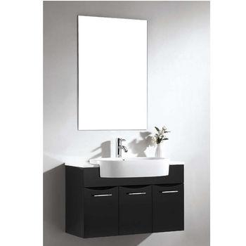 Dawn Sinks 33 1 2 W European Bathroom Vanity Set  Sink Top  Sink Cabinet    Mirror In Matt Black. Dawn Sinks Bathroom Vanities and Sink Cabinets   KitchenSource com