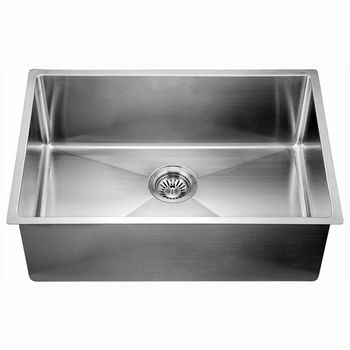 """Dawn Sinks® Kitchen Stainless Steel Undermount Extra Small Corner Radius Rectangle Single Bowl in Polished Satin Finish, 26-1/2"""" W x 18"""" D x 10"""" H"""