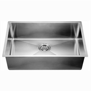 """Dawn Sinks® Kitchen Stainless Steel Undermount Extra Small Corner Radius Rectangle Single Bowl in Polished Satin Finish, 32-1/2"""" W x 18"""" D x 10"""" H"""