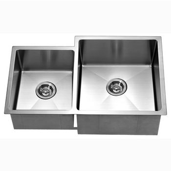 """Dawn Sinks® Kitchen Stainless Steel Undermount Extra Small Corner Radius Rectangle Double Bowls (Small Bowl on Left) in Polished Satin Finish, 33"""" W x 20-1/2"""" D x 10-1/2"""" H"""