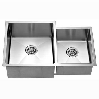 """Dawn Sinks® Kitchen Stainless Steel Undermount Extra Small Corner Radius Rectangle Double Bowls (Small Bowl on Right) in Polished Satin Finish, 33"""" W x 20-1/2"""" D x 10-1/2"""" H"""