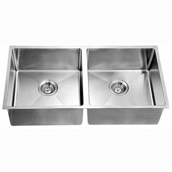 """Dawn Sinks® Kitchen Stainless Steel Undermount Extra Small Corner Radius Equal Rectangle Double Bowl in Polished Satin Finish, 34-13/16"""" W x 17-3/16"""" D x 9"""" H"""