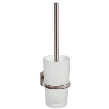 "Smedbo Cabin Brushed Nickel Wallmount Toilet Brush Set 15"" L"