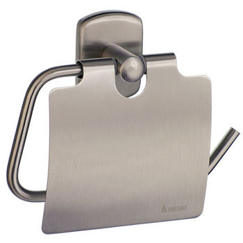 """Smedbo Cabin Brushed Nickel European Style Toilet Roll Holder with Lid 1¾""""Depth"""