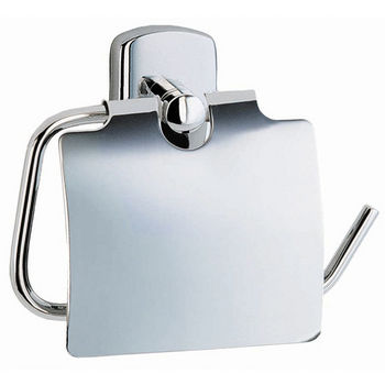 """Smedbo Cabin Polished Chrome Toilet Roll Holder with Lid European Style 1¾"""""""