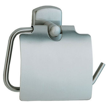 """Smedbo Cabin Brushed Chrome Toilet Roll Holder with Lid European Style 1¾"""" Depth"""