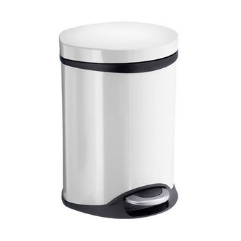 Smedbo Outline Lite Collection Trash Pedal Bin 1.58 Gallon in White Lacquered Stainless Steel, 9-1/2'' Diameter x 9'' D x 12-1/2'' H