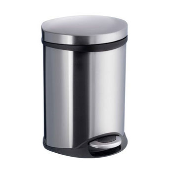 Smedbo Outline Lite Collection Trash Pedal Bin 1.58 Gallon in Brushed Stainless Steel, 9-1/2'' Diameter x 9'' D x 12-1/2'' H