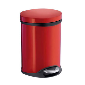 Smedbo Outline Lite Collection Trash Pedal Bin 1.58 Gallon in Red Lacquered Stainless Steel, 9-1/2'' Diameter x 9'' D x 12-1/2'' H