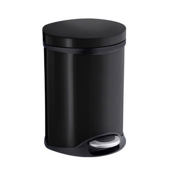 Smedbo Outline Lite Collection Trash Pedal Bin 1.58 Gallon in Black Lacquered Stainless Steel, 9-1/2'' Diameter x 9'' D x 12-1/2'' H