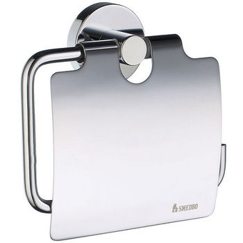 """Smedbo Home Line European Style Polished Chrome Toilet Roll Holder with Lid 1-1/2"""" D"""