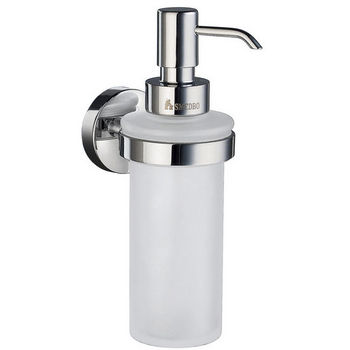 """Smedbo Home Line Polished Chrome Holder with Frosted Glass Soap Dispenser 7"""" H"""
