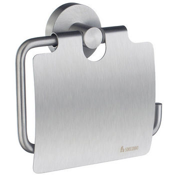 """Smedbo Home Line European Style Brushed Chrome Toilet Roll Holder with Lid 1-1/2"""" D"""