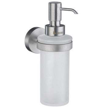 """Smedbo Home Line Brushed Chrome Holder with Frosted Glass Soap Dispenser 7"""" H"""