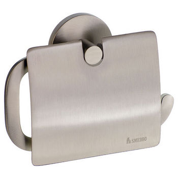 "Smedbo Loft Brushed Nickel European Style Toilet Roll Holder with Lid 1½""Depth"