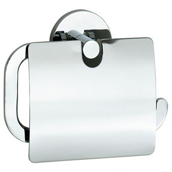 "Smedbo Loft Polished Chrome European Style Toilet Roll Holder with Lid 1½""Depth"