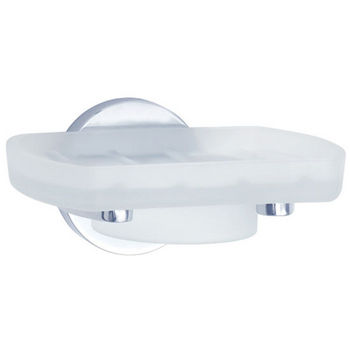 "Smedbo Loft Polished Chrome Holder with Frosted Glass Soap Dish 3½""Depth"