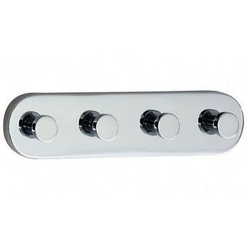"Smedbo Loft Polished Chrome Quadruple Bathroom Hook 7""Length"