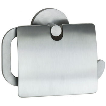 "Smedbo Loft Brushed Chrome European Style Toilet Roll Holder with Lid 1½""Depth"