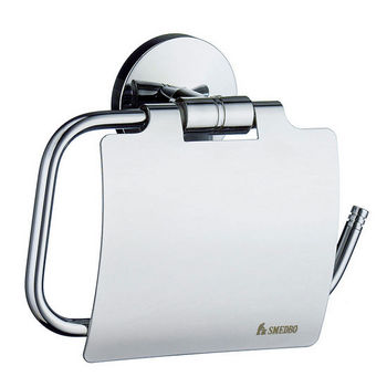 Smedbo Studio Polished Chrome European Style Toilet Roll Holder with Lid