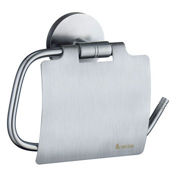 Smedbo Studio Brushed Chrome European Style Toilet Roll Holder with Lid