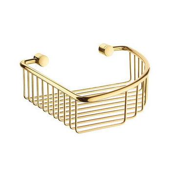 "Smedbo Villa Polished Brass Corner Soap Basket 7-7/8"" W x 7-7/8"" D x2½"" H"